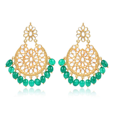 Kunuz Kundan Chandbali Earrings With Green Drops For Woman