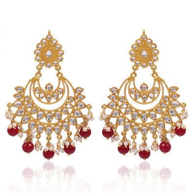 Kunuz Kundan Chandbali Earrings With Red Drops and Mangtikka For Woman