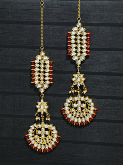 Kundan Red Kaanchain Earrings