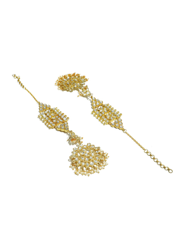 Kundan Gold with White Embellishment Kaanchain Earrings