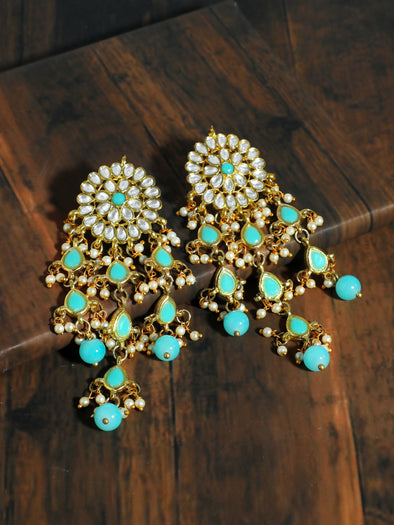 Kundan Mint Blue Tassel Earrings