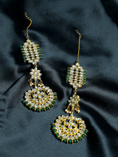 Kundan Dark Green Kaanchain Earrings