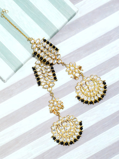 Kundan Black Kaanchain Earrings