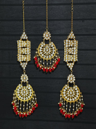 Kundan Gold Sahara Red Tassel Earrings with Maangtikka