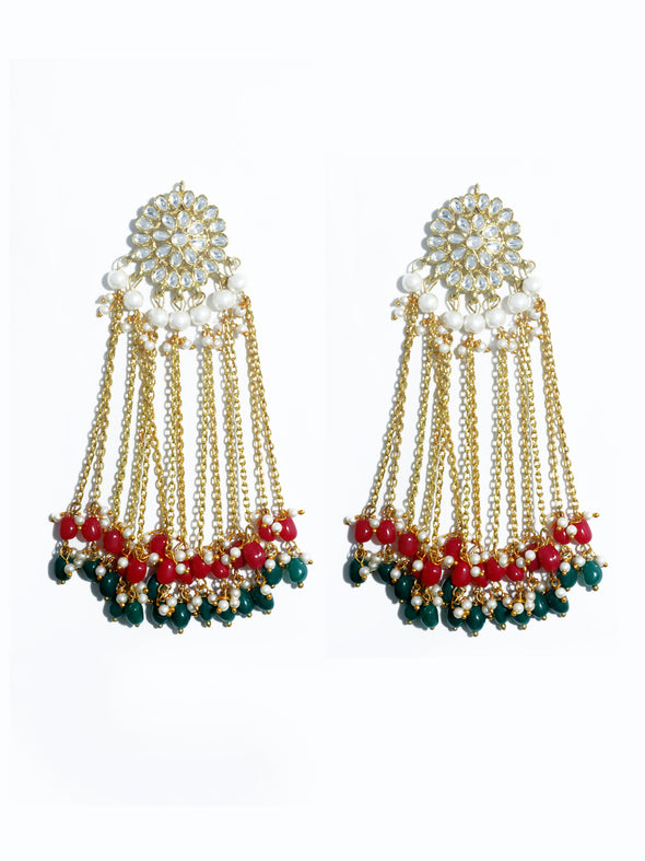 Kundan Red and Green Tassel Earrings
