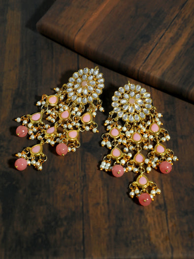 Kundan Peach Tassel Earrings