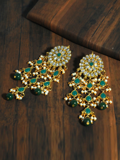 Kundan Dark Green Tassel Earrings