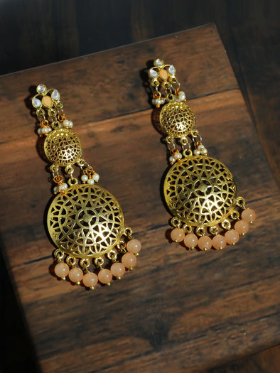 Kundan Gold Peach Earrings