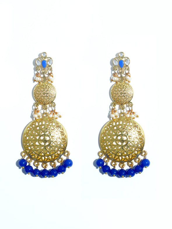 Kundan Gold Blue Earrings