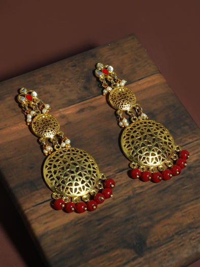 Kundan Gold Red Earrings