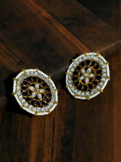 Kundan Black Stud Earrings