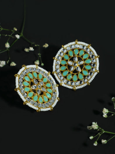 Kundan Pastel Lime Green Stud Earrings