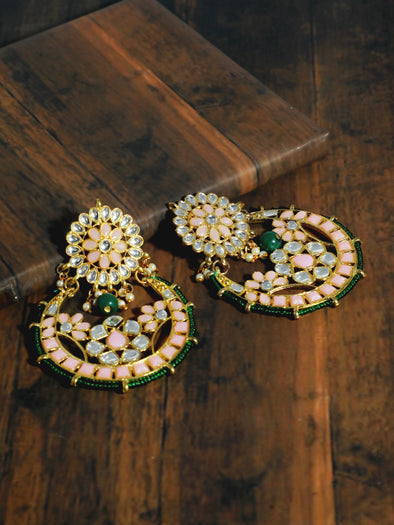 Kundan Peach and Green Chandbali Earrings
