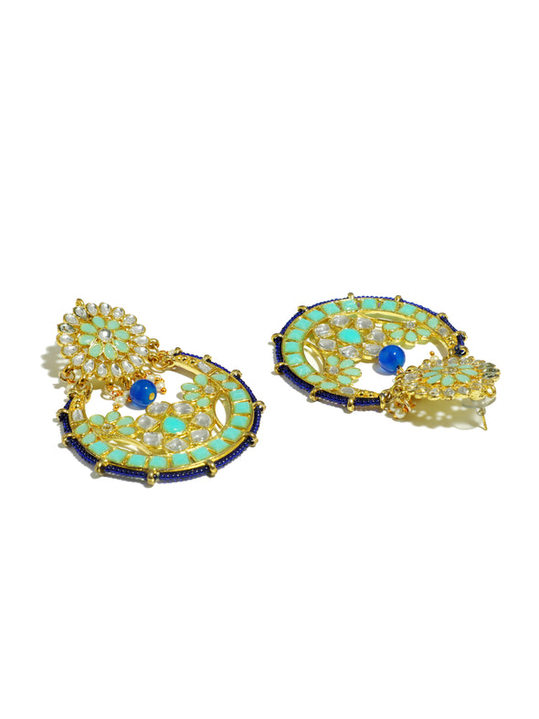 Kundan Blue Chandbali Earrings
