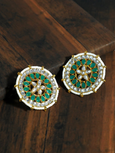 Kundan Green Stud Earrings