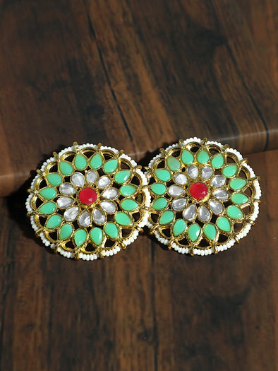 Kundan Pastel Lime Green with Red Stone Stud Earrings