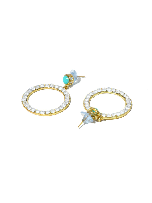 Kundan Hoop Earrings with Aqua Stone