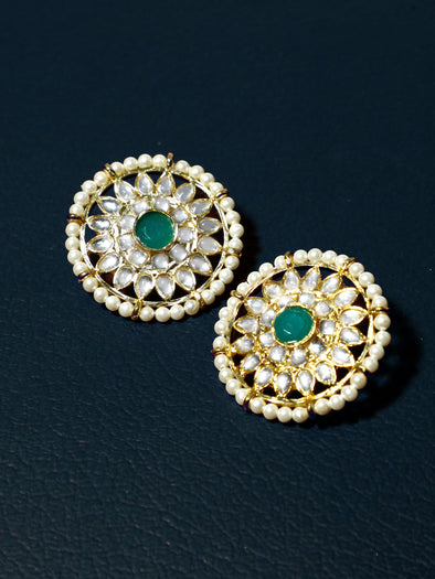 Kundan Stud Earrings with Green Stones