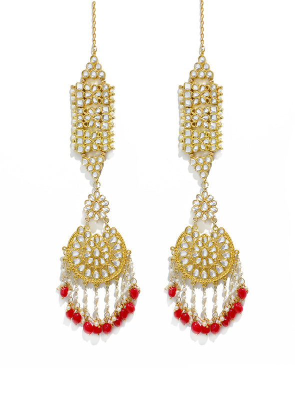 Gold Plated Red Drops Kundan Kaanchain Earrings for Women