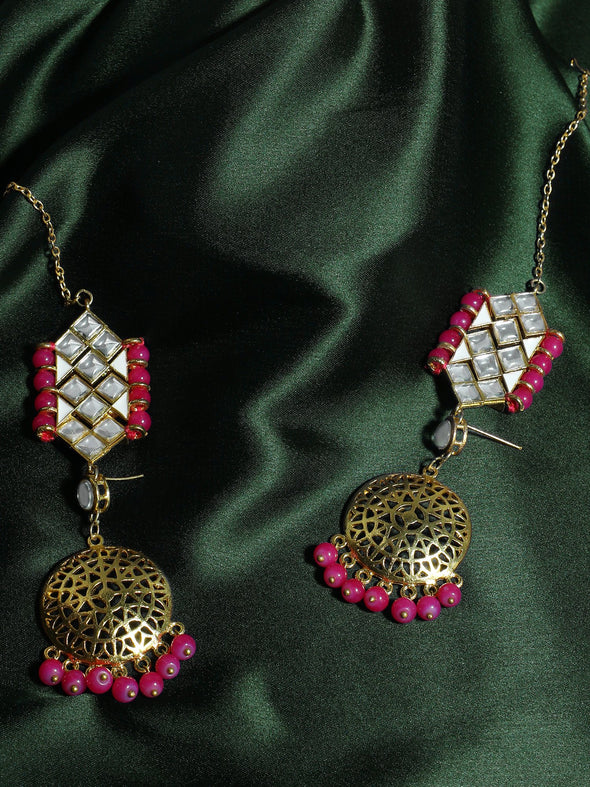 Gold Plated Pink Beads Kundan Kaanchain Earrings for Women