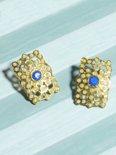 Gold Plated Blue Kundan Stud Earrings for Women