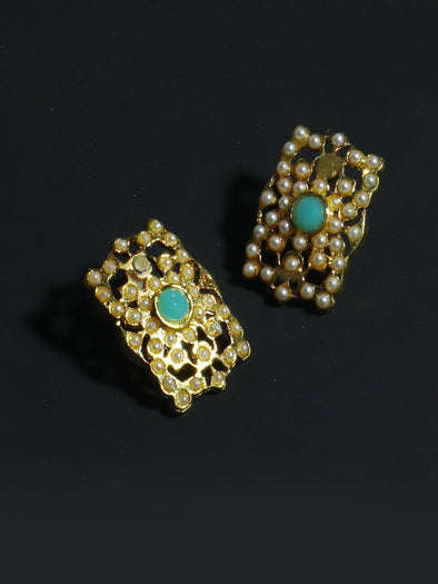 Gold Plated Mint Green Kundan Stud Earrings for Women