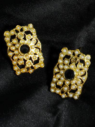 Gold Plated Black Kundan Stud Earrings for Women