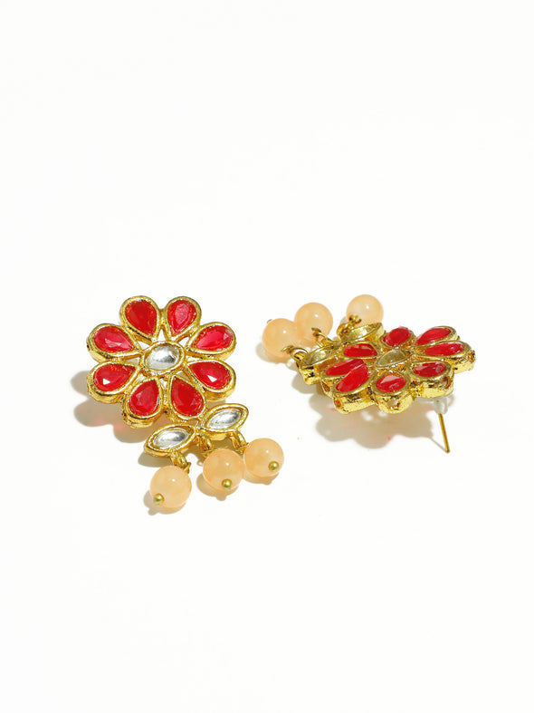 Gold Plated Peach Beads Red Kundan Dangler Earrings for Women