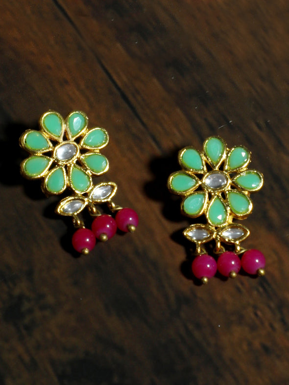 Gold Plated Pink Beads Mint Green Kundan Dangler Earrings for Women