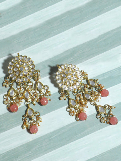 Gold Plated Peach Beads Kundan Tassel Earrings for Women