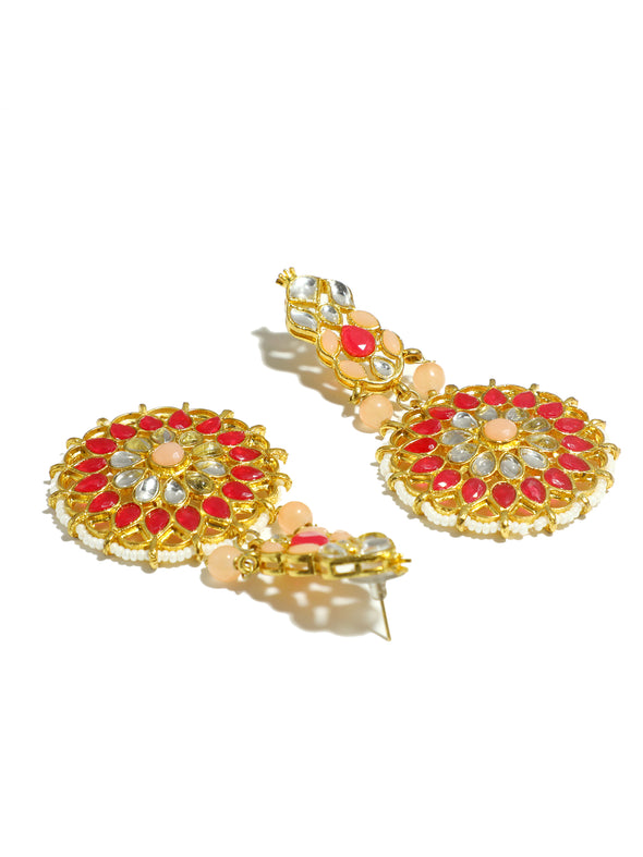 Gold Plated Peach and Red Kundan Dangler Earrings for Women