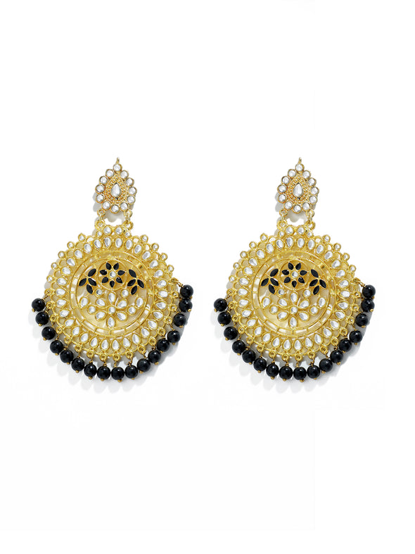 Gold Plated Black Beads Drop Kundan Earrings for Women