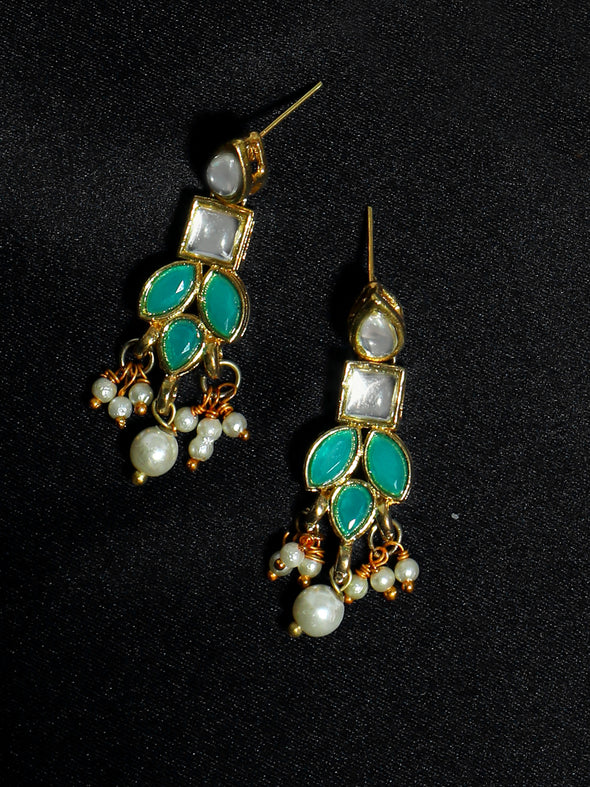 Gold Plated Pearl Beads Mint Blue Kundan Dangler Earrings for Women