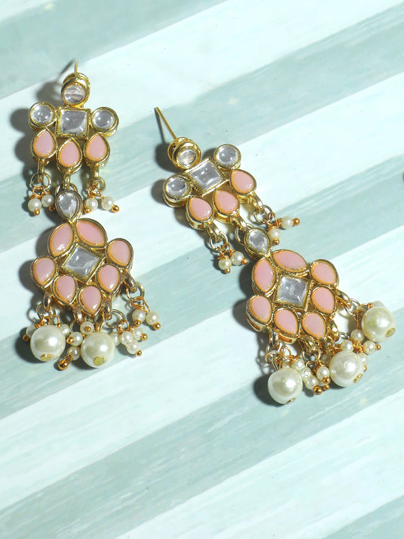 Gold Plated Pearl Beads Peach Kundan Dangler Earrings for Women