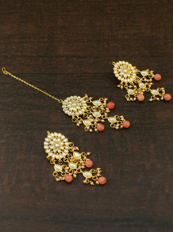 Gold Plated Peach Beads Kundan Tassel Earrings with Maangtikka for Women