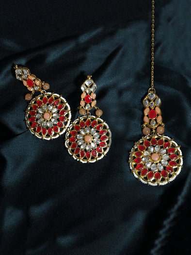 Gold Plated Red and Peach Kundan Dangler Earrings with Maangtikka for Women
