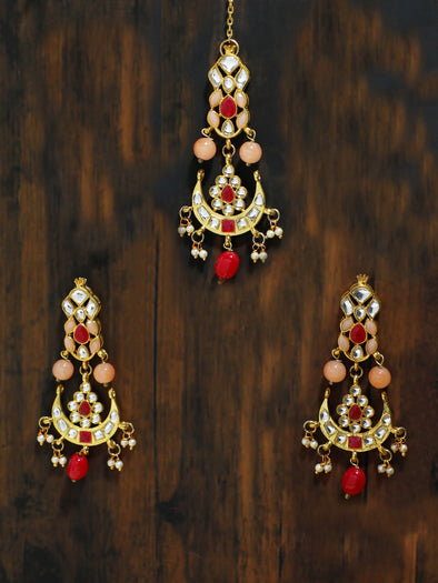 Gold Plated Peach and Red Beads Kundan Dangler Earrings with Maangtikka for Women