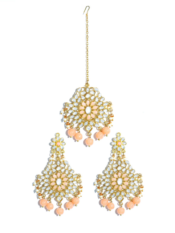 Gold Plated Peach Beads Kundan Dangler Earrings with Maangtikka for Women