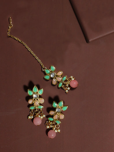 Gold Plated Peach and Mint Green Kundan Dangler Earrings with Maangtikka for Women