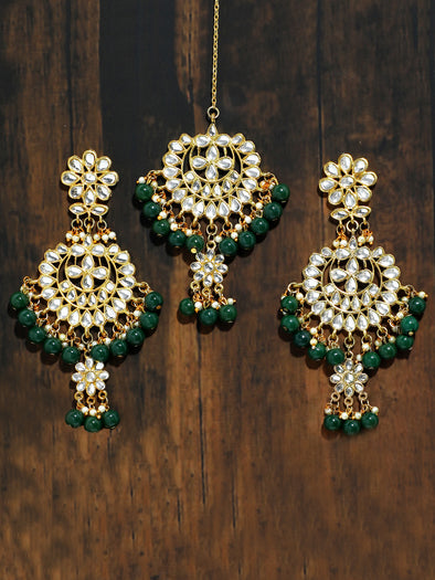 Gold Plated Green Drops Kundan Chandbali Earrings with Maangtikka for Women