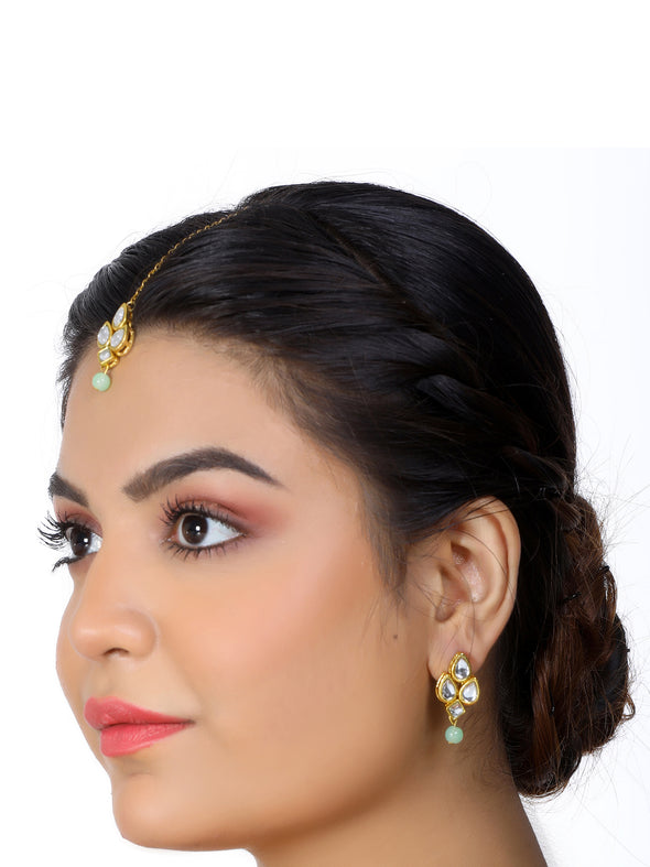 Gold Plated Mint Green Beads White Kundan Dangler Earrings with Maangtikka for Women