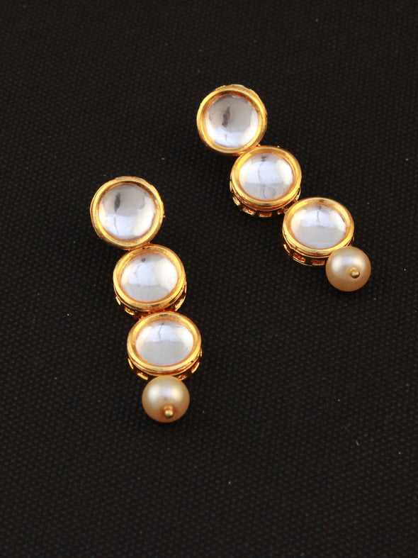 Traditional Gold Plated Polki Dangler Earrings with Pearl Beads