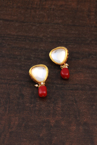 Traditional Gold Plated Polki Kundan Dangler Earrings with Red Beads