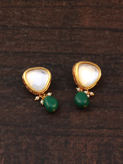 Traditional Gold Plated Polki Kundan Dangler Earrings with Green Beads