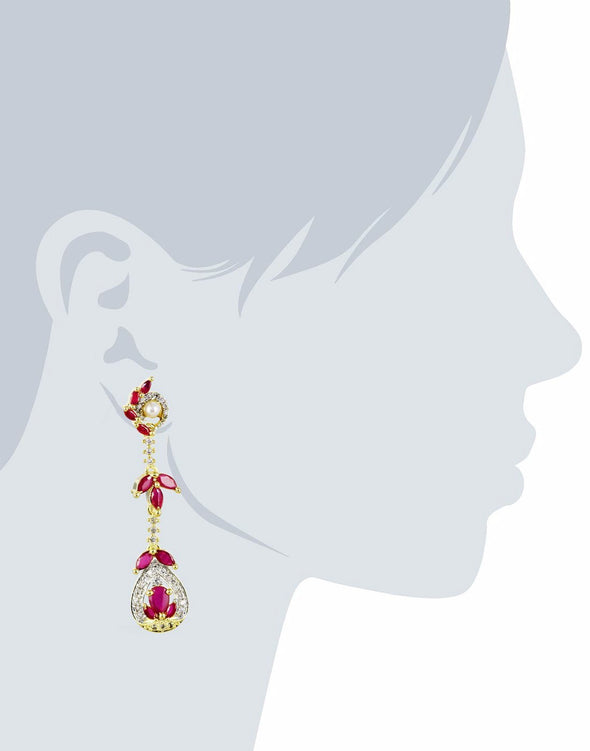 Cubic Zirconia Red Dangler Earrings