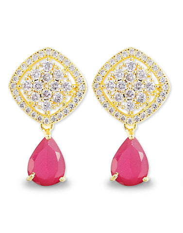 Red Drop American Diamonds Earrings