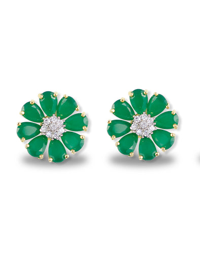 Green Floweret American Diamonds Stud Earrings
