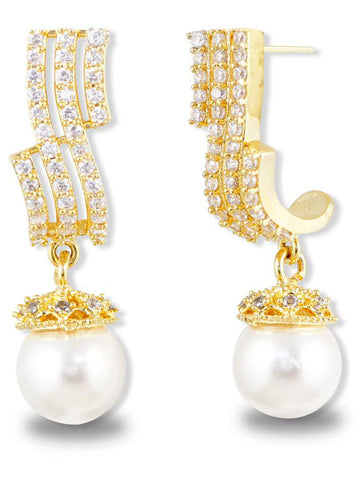 American Diamonds Gold Metal Pearl Drop Earrings