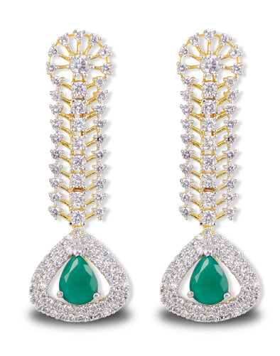 Green Stone American Diamonds Drop Earrings