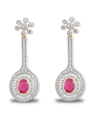 Red Stone American Diamonds Drop Earrings